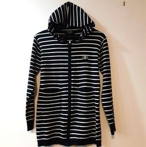 Chanel Black/White Stripe Hoodie Sweater Jacket